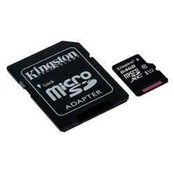 Tarjeta Memoria Micro SD con Adapt. x64 GB Kingston (Clase 10)