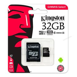 Tarjeta Memoria Micro SD con Adapt. x32 GB Kingston (Clase 10)