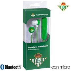 Auriculares Stereo Bluetooth Deportivos Universal Licencia Fútbol Real Betis