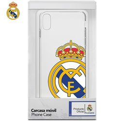 Carcasa iPhone XR Licencia Fútbol Real Madrid Transparente Escudo