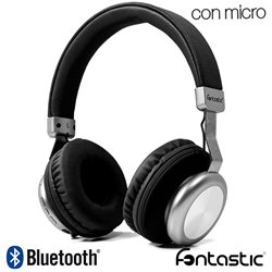 Auriculares Stereo Bluetooth Cascos Splend BaXx On-Ear Fontastic Negro