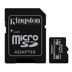 Tarjeta Memoria Micro SD con Adapt. x16 GB Kingston (Clase 10)