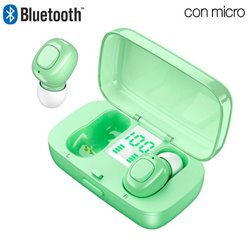 Auriculares Stereo Bluetooth Dual Pod Earbuds COOL DISPLAY Verde