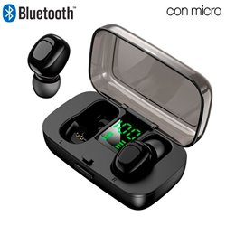 Auriculares Stereo Bluetooth Dual Pod Earbuds COOL DISPLAY Negro