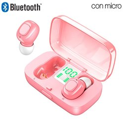 Auriculares Stereo Bluetooth Dual Pod Earbuds COOL DISPLAY Rosa