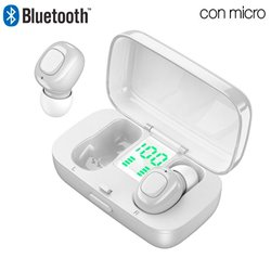 Auriculares Stereo Bluetooth Dual Pod Earbuds COOL DISPLAY Blanco