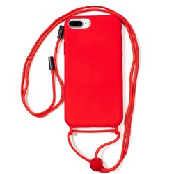 Carcasa iPhone 6 Plus / 7 Plus / iPhone 8 Plus Cordón Liso Rojo