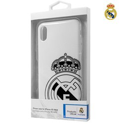 Carcasa iPhone XS Max Licencia Fútbol Real Madrid Blanco Escudo