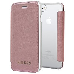 Funda Flip Cover iPhone 7 / 8 / SE (2020) Licencia Guess Leather Rosa