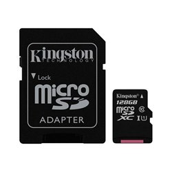 Tarjeta Memoria Micro SD con Adaptador x128 GB Kingston (Clase 10)